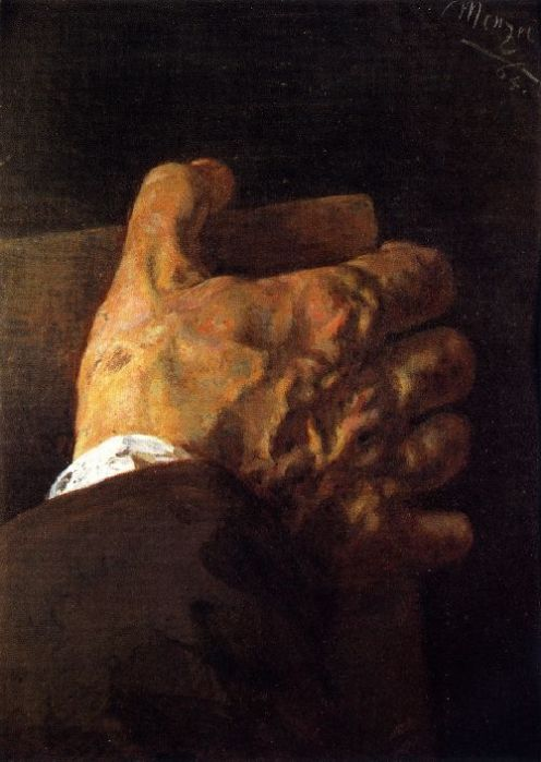 Hand Holding a Book by Adolf von Menzel